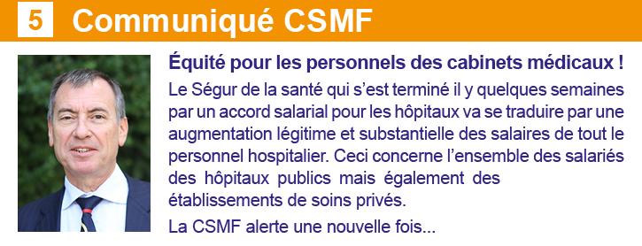 CP CSMF Newsletter 24 septembre Les Spécialistes CSMF